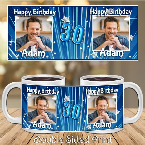 Personalised Blue Glitz Happy Birthday PHOTO Mug N16